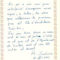 Antoni Subirà,conseller del Departament d'Indústria i Energia, 16-3-2001
