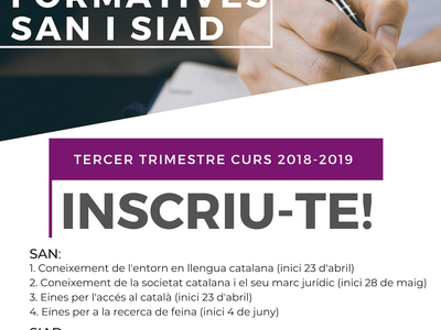 El SAN i el SIAD de Salou obren el període d'inscripció de les accions formatives del tercer trimestre del curs 2018-2019