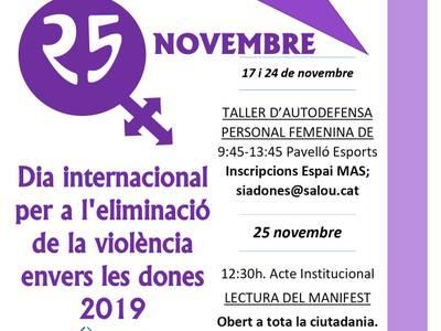 Salou se suma a la lluita per a l'eliminació de la violència envers les dones pel 25N