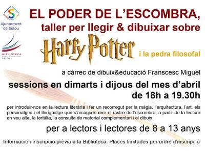"""La Biblioteca inicia avui un cicle de tallers de lectura i dibuix dedicats a l'obra de Harry Potter """"El poder de l'escombra"""""""