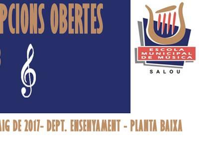 L'Escola Municipal de Música de Salou obra el calendari de preinscripció i matriculació