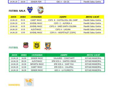 Calendari de competicions esportives del cap de setmana 13-14 d'abril a Salou