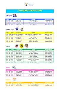 Calendari de competicions esportives del  cap de setmana 17/18 de novembre a Salou