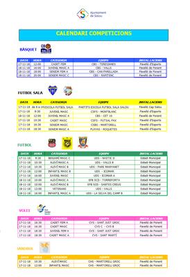 Calendari de competicions esportives del  cap de setmana 17/18 d'octubre a Salou