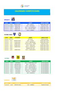 Calendari de competicions esportives del cap de setmana 23-24 de març a Salou