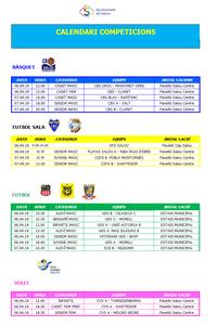 Calendari de competicions esportives del cap de setmana 6-7 d'abril a Salou