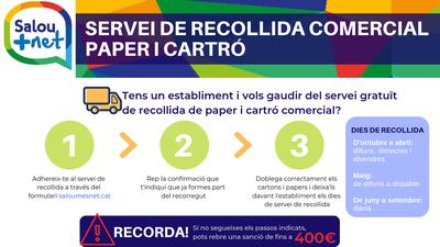 L'Ajuntament posa a disposició dels establiments comercials el servei de recollida de paper i cartró