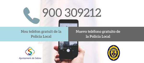 L'Ajuntament de Salou, habilita un telèfon 900, gratuït, pel servei de Policia Local