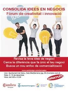 Salou acull el Fòrum 'Creativitat i innovació: de la idea a la realitat', adreçat a empresaris i emprenedors, els dies 3 i 10 de desembre