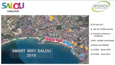 Mapa on es desplegaran els nous punts de SMART WIFI SALOU