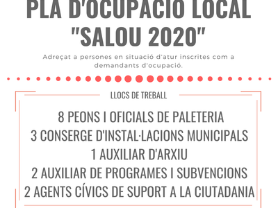 """ANUNCI DEL LLISTAT DEFINITIU DE PERSONES ADMESES I EXCLOSES DEL PROCÉS SELECTIU CONVOCAT PER A L'ACCÉS AL PLA D'OCUPACIÓ EXTRAORDINARI """"SALOU 2020 """"DE L'AJUNTAMENT DE SALOU"""