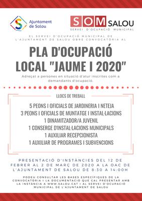 """ANUNCI DEL LLISTAT PROVISIONAL DE PERSONES ADMESES I EXCLOSES DEL PROCÉS SELECTIU CONVOCAT PER A L'ACCÉS AL PLA D'OCUPACIÓ LOCAL """"JAUME I 2020 """"DE L'AJUNTAMENT DE SALOU"""