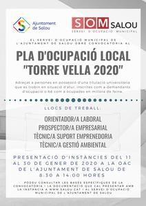 """ANUNCI DEL LLISTAT PROVISIONAL DE PERSONES ADMESES I EXCLOSES DEL PROCÉS SELECTIU CONVOCAT PER A L'ACCÉS AL PLA D'OCUPACIÓ LOCAL """"TORRE VELLA 2020"""" DE L'AJUNTAMENT DE SALOU"""