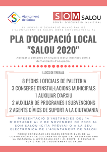 """ANUNCI DEL LLISTAT PROVISIONAL DE PERSONES ADMESES I EXCLOSES DEL PROCÉS SELECTIU CONVOCAT PER A L'ACCÉS AL PLA D'OCUPACIÓ LOCAL EXTRAORDINARI """"SALOU 2020"""" DE L'AJUNTAMENT DE SALOU"""