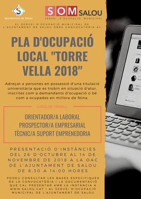"""Anunci del resultat final del procés selectiu convocat per a l'accés al Pla d'Ocupació Local """"Torre Vella 2018"""" de l'Ajuntament de Salou"""
