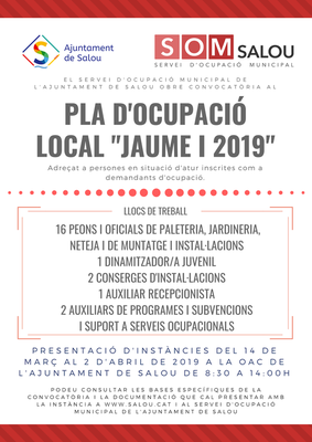 """Llistat definitiu de persones admeses del procés selectiu convocat per a l'accés al Pla d'Ocupació Local """"Jaume I 2019"""" de l'Ajuntament de Salou"""