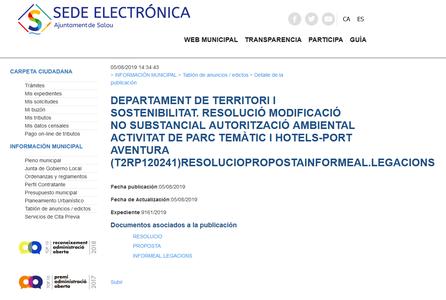 Resolució modificació no substancial de l'autorització ambiental T2RP120241 de l'empresa Port Aventura Entertainment, SA, d'una activitat de parc temàtic i hotels, als termes municipals de Vila-Seca i Salou (exp. T2BCNS180016)