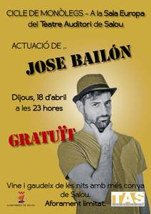 L'actor, monologuista i humorista barceloní José Bailón puja a l'escenari del TAS