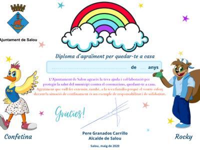 L'Ajuntament de Salou edita un diploma per agrair el bon comportament dels infants del municipi davant del confinament pel coronavirus
