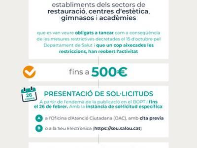 L'Ajuntament de Salou obre avui dilluns el termini perquè els titulars d'activitats dels sectors econòmics que van suspendre temporalment la seva activitat el 15 d'octubre com a mesura per a la contenció puguin demanar l'ajut directe de 500€