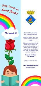 L'alcalde de Salou, Pere Granados, felicita la Diada de Sant Jordi a la ciutadania amb un punt de llibre