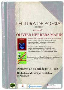 Lectura de Poesia i col.loqui a la biblioteca municipal de Salou on intervindrà Oliver Herrera Marín