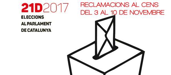 Fins el proper 10 de novembre es podran consultar les llistes del Cens Electoral i presentar reclamacions