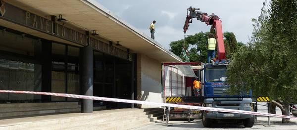 S'inicien les obres de millora de la coberta del pavelló poliesportiu de Salou