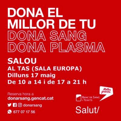 Salou acollirà una nova jornada de donació de sang i plasma, el proper dilluns, 17 de maig