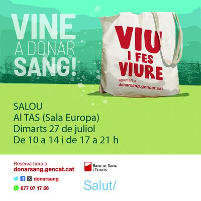 Salou programa una nova jornada de donació de sang, demà dimarts, 27 de juliol