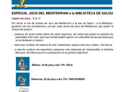 Los más pequeños tendrán su propio podium de los Juegos del Mediterráneo en la Biblioteca Municipal de Salou