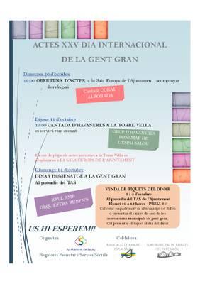 Salou celebrará la semana del 10 al 14 de octubre el XXV Día Internacional de las Personas Mayores