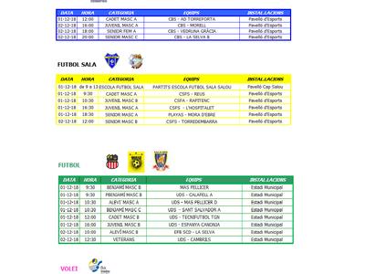 Calendario de competiciones deportivas del fin de semana 01/02 de diciembre en Salou