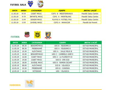 Calendario de competiciones deportivas del fin de semana 11-12 de mayo en Salou