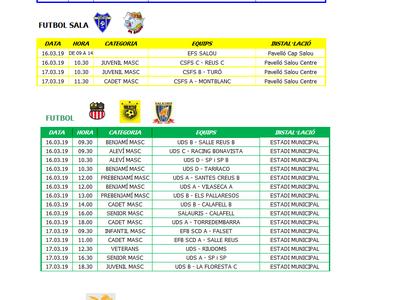 Calendario de competiciones deportivas del fin de semana 16-17 de marzo en Salou