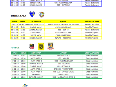 Calendario de competiciones deportivas del fin de semana 17/18 de noviembre en Salou