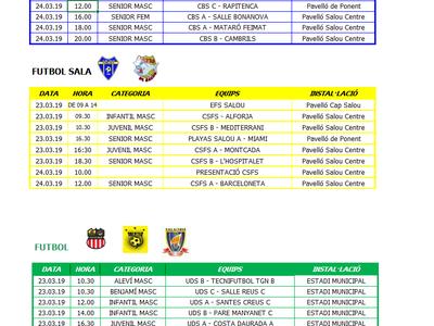 Calendario de competiciones deportivas del fin de semana 23-24 de marzo en Salou