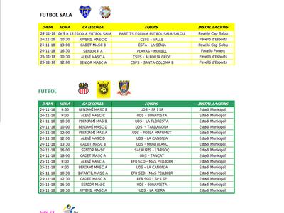 Calendario de competiciones deportivas del fin de semana 24/25 de noviembre en Salou