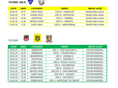 Calendario de competiciones deportivas del fin de semana 30-31 de marzo en Salou