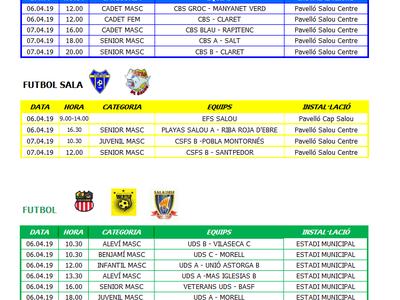 Calendario de competiciones deportivas del fin de semana 6-7 de abril en Salou