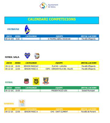 Calendario de competiciones deportivas del fin de semana 6-9 de diciembre en Salou