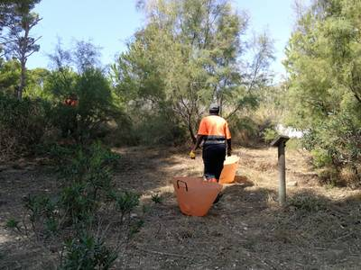 La brigada municipal limpia el sotobosque de varios puntos de Cap Salou