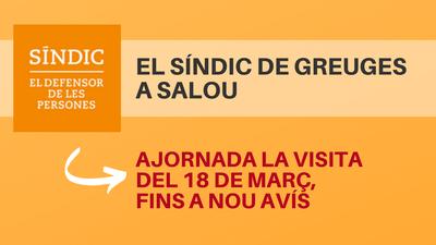 Aplazada, hasta nuevo aviso, la visita del 18 de marzo del Síndic de Greuges en Salou