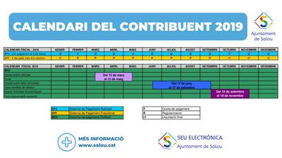 El Ayunamiento de Salou pone a disposición de la ciudadania el nuevo calendario del contribuyente 2019