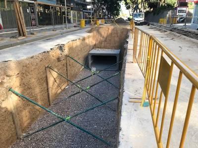 Las obras de Carles Buïgas instalan un nuevo colector de pluviales más grande para garantizar una adecuada recogida de las aguas