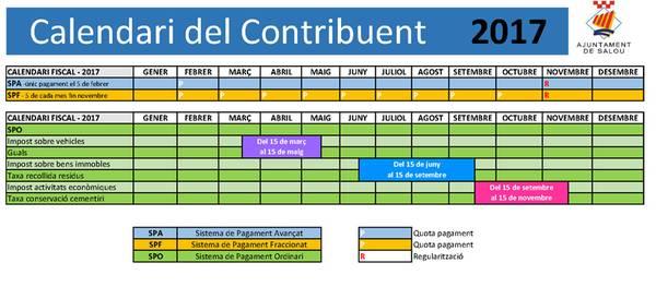 Salou edita el calendario del contribuyente para el ejercicio 2017